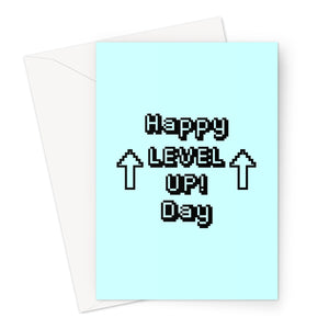 Happy Level UP! Day - Gamer Collection - Retro 8bit BLUE colour Greeting Card