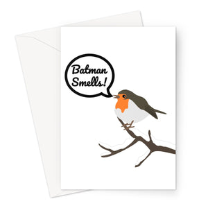 Batman Smells Cute Robin Christmas Xmas Jingle Bells Greeting Card
