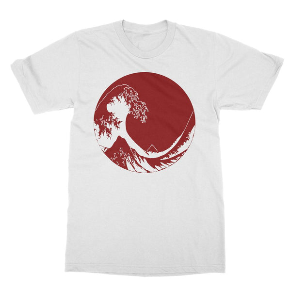 Red Hokusai Great Wave T-Shirt (Travel Collection, Big Print)