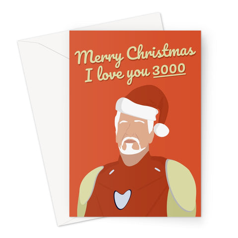 Tony Stark Merry Christmas I Love You 3000 Greeting Card