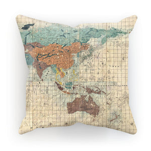World map print cushion. Japan print cushion. Travel-inspired homeware. Gifts for travel lovers.