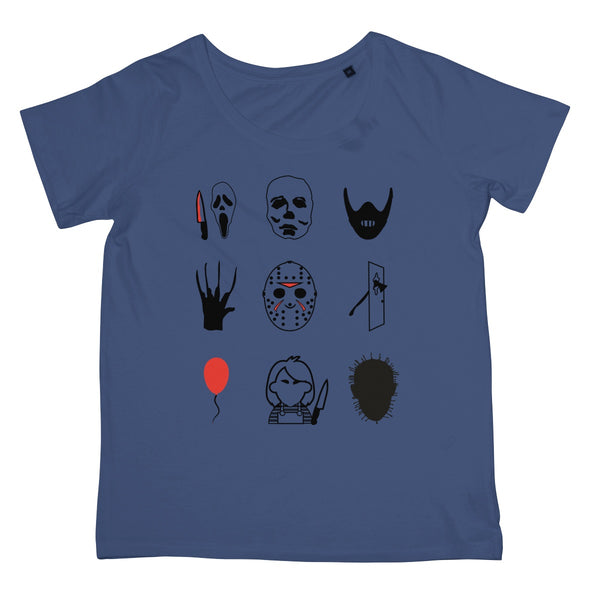 Halloween Apparel - Horror Movie Icons Freddy, Jason, IT, Myers Women's Retail T-Shirt