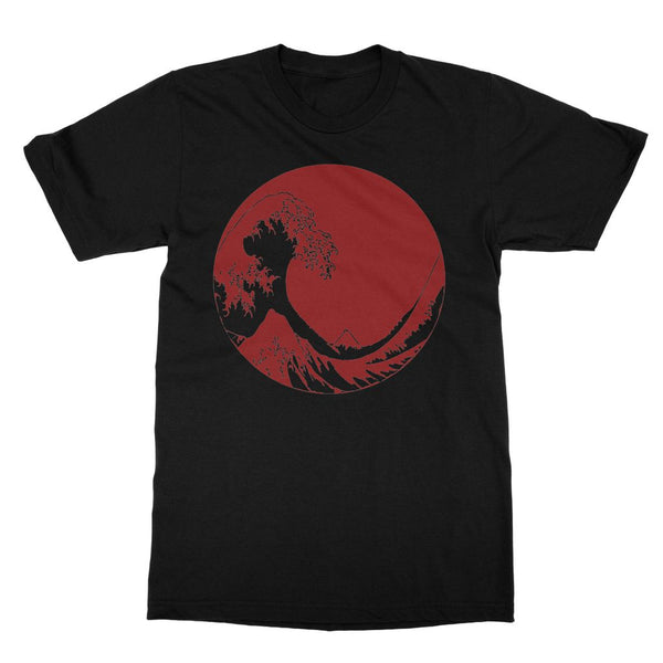 Great Wave print t-shirt. Striking red Hokusai print t-shirt. Japanese fashion. Japan-inspired clothing and gifts for travel lovers.