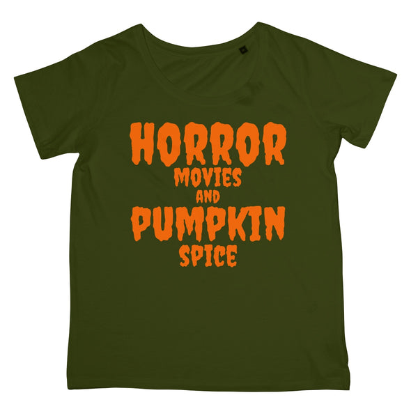 Halloween Apparel - Horror Movies and Pumpkin Spice  Women's Retail T-Shirt