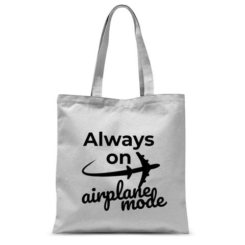 Always On Airplane Mode Tote Bag - Travel Carry On, Simple Travel Themed Tote Bag