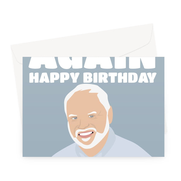 It's March Again Happy Birthday 2021 Lockdown Funny Hide the Pain Harold Meme Old Man Smiling Stock Photos Social Media Silly Funny Greeting Card