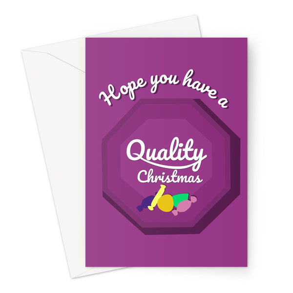 Hope You Have a Quality Christmas Funny Tin Chocolates Street Purple Classic Retro Gift Greeting Card