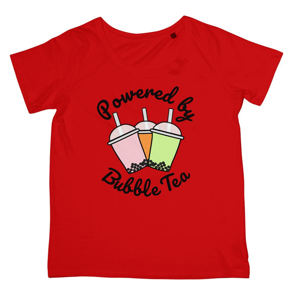 Foodie Collection Apparel - Powered By Bubble Tea T-Shirt (Women's Fit/Big Print)