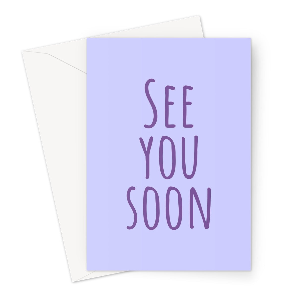 See You Soon Simple Purple Love Miss You Isolation Pandemic Social Distance Birthday Mother's Day Greeting Card