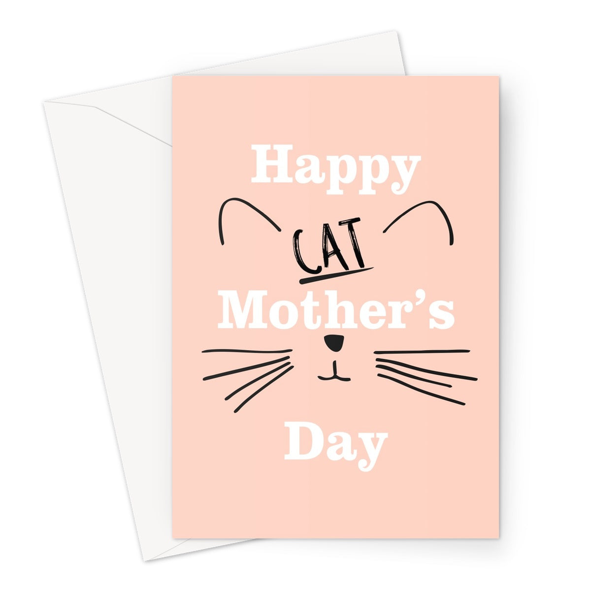 Happy Cat Mothers Day Minimalist  Love Funny Fan Gift Cat Mom Mum Owner Kitty Kitten Short Hair Sphynx  Greeting Card