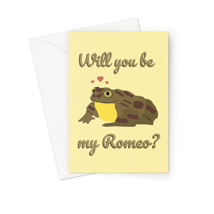 Will You Be My Romeo World's Loneliest Frog Bolivia Juliet Sehuencas Water Cloud Forest Valentine's Day Love Anniversary  Greeting Card