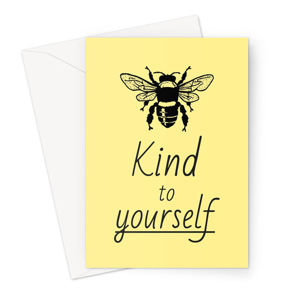 Bee Kind To Yourself Funny Cute Love Birthday Anniversary Pandemic Social Distance Isolation Miss You Be Kind Nature Fan Greeting Card