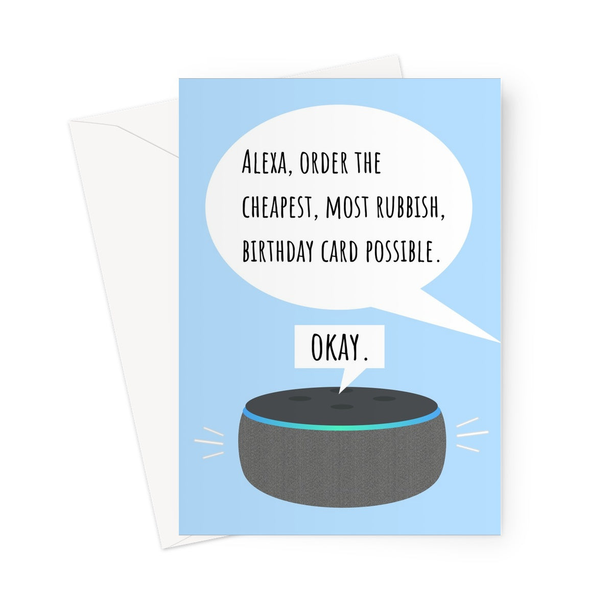 Alexa, Order the Cheapest, Most Rubbish, Birthday Card Possible / Okay / Funny Hilarious Smart Speaker Auto Correct Meme Joke Greeting Card