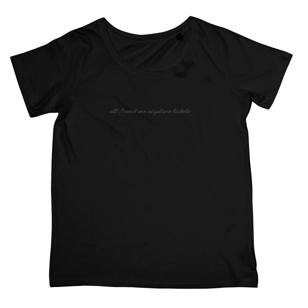 Women's Travel Fashion T-Shirt - 'All I Need Are Airplane Tickets'