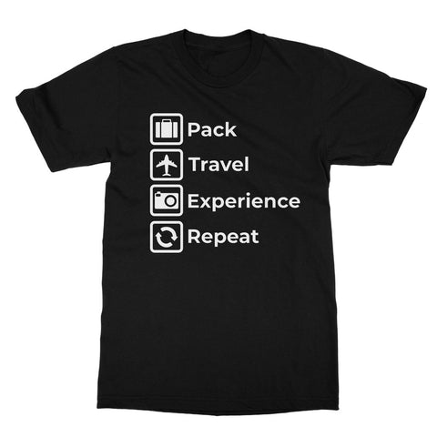 'Pack Travel Experience Repeat' Travel T-Shirt. Wanderlust Gift. Eat Sleep Repeat Vacation Holiday Explore Adventure Softstyle Tee