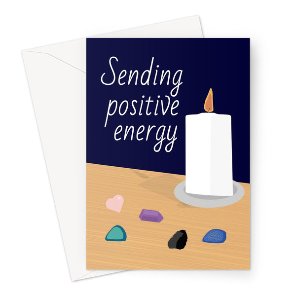 Sending Positive Energy Candle Crystals Healing Love Positivity Birthday Anniversary Rocks  Greeting Card