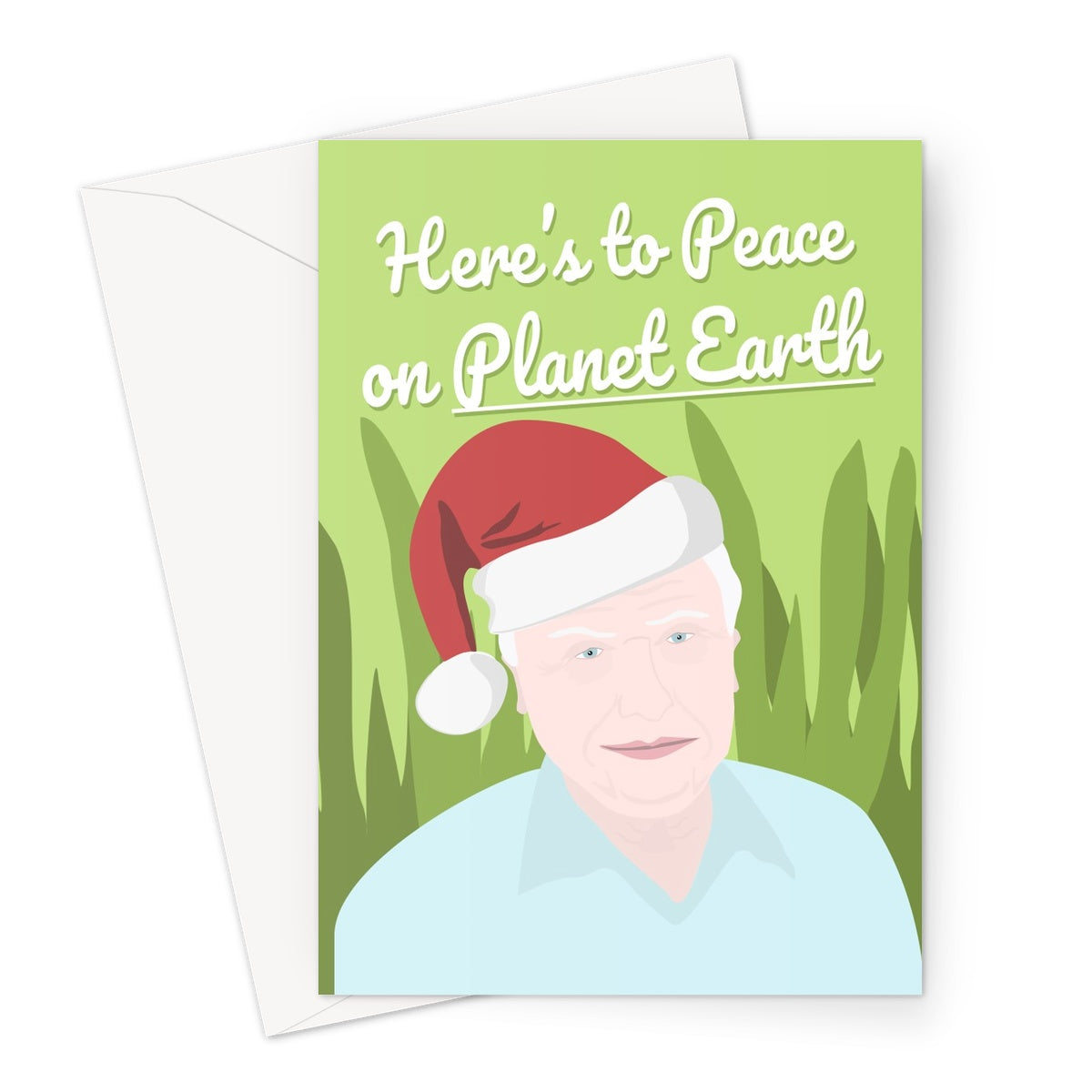 David Attenborough Here's to Peace on Planet Earth Merry Christmas Xmas Fan TV  Greeting Card