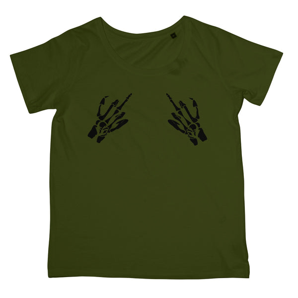 Halloween Apparel - Swearing Skeleton Bone Hands Haloween Spooky Horror Fan Women's Retail T-Shirt