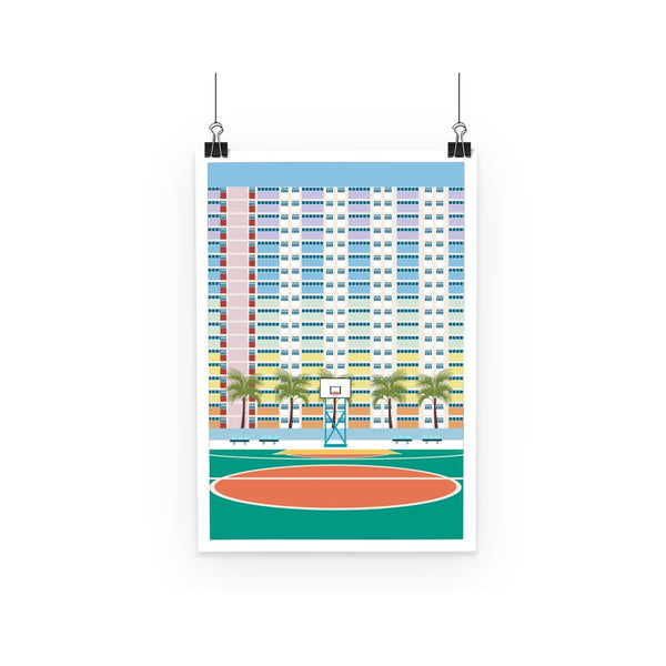 Travel Collection Homeware - Hong Kong Basketball Court Poster (Choi Hung Estate)