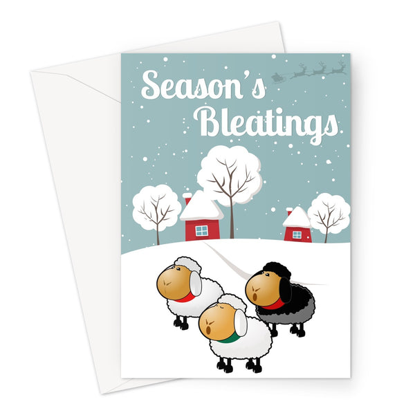 Season's Bleatings Funny Sheep Xmas Christmas Cute Santa Snow Father Christmas Gift Fan Love Cute Greeting Card