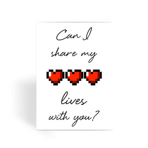 Nintendo Greetings Card - 'Can I Share My Lives With You?' Valentine Card