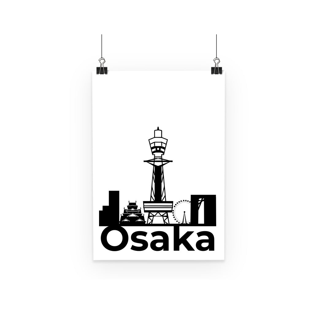 Travel Collection Homeware - Osaka City Black Print Poster