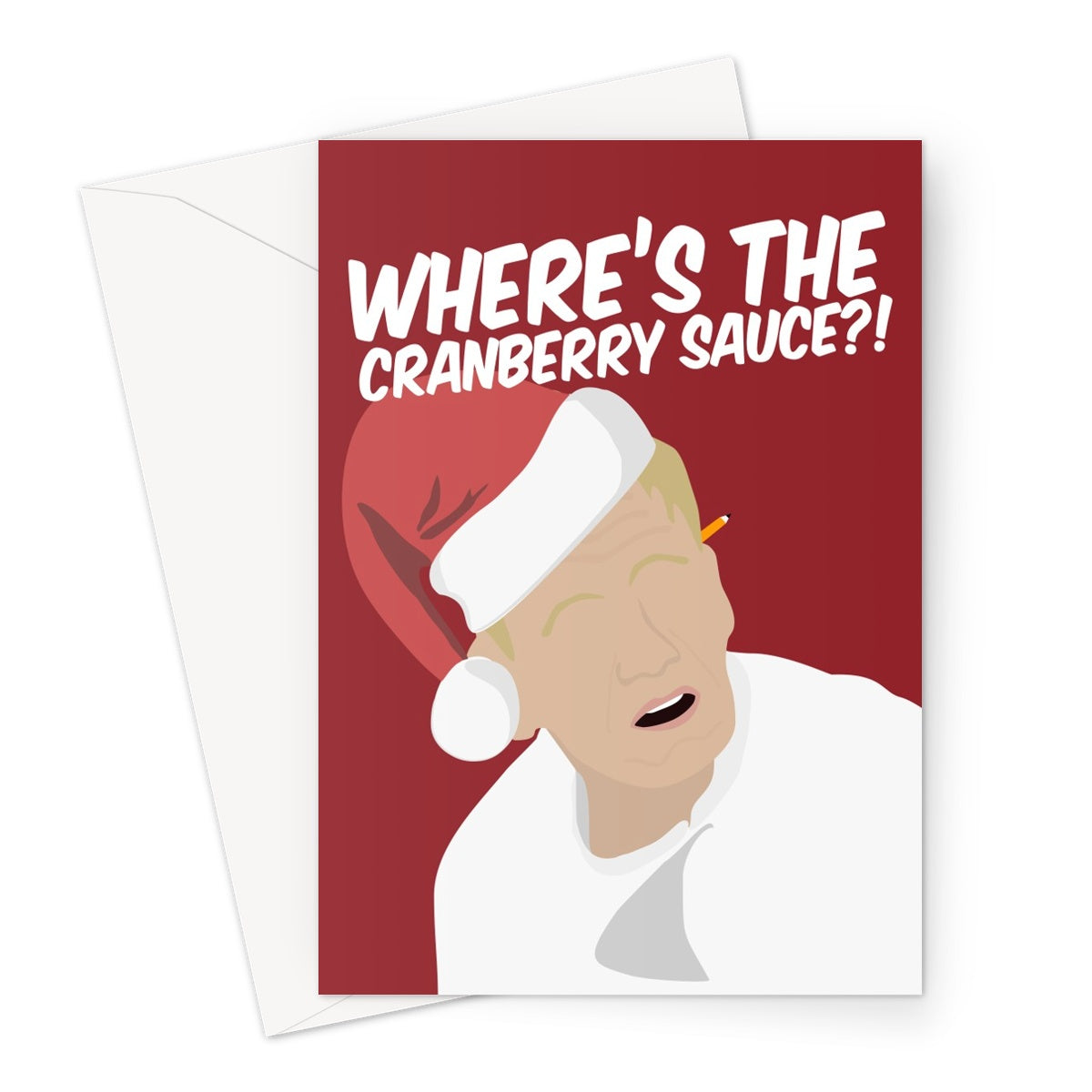 Where's the Cranberry Sauce Gordon Ramsay Chef Fan Lamb Christmas Greeting Card