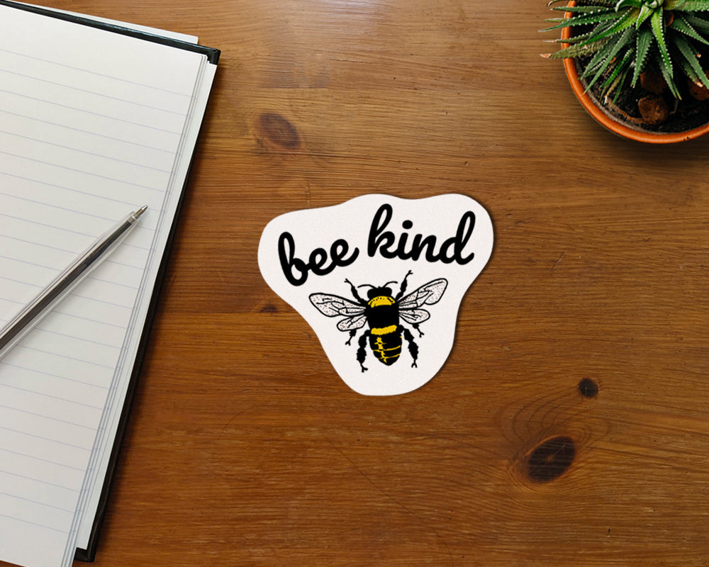 "Bee Kind Waterproof Sticker Vinyl Kisscut 3x4"" Gift Birthday Skateboard Laptop Notebook Nature Positivity Love Bees be Kind Funny Cute"