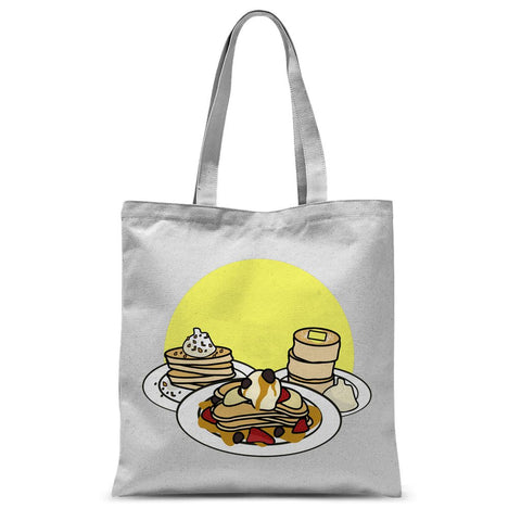 Pancake tote bag. Pancake print apparel. Cute pancake design. Food inspired clothing.