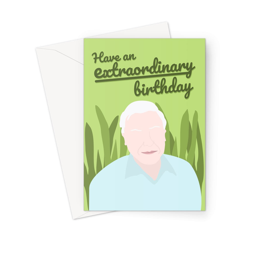 David Attenborough Birthday Card; Nature Themed Birthday Cards; Animal Birthday Cards; Celebrity Birthday Cards