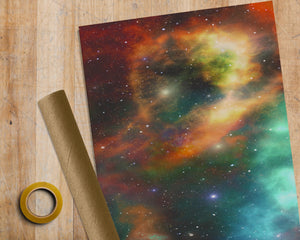 Colourful Space Nebula - 1M ROLL - Premium Wrapping Paper Anniversary Birthday Gift Wrap Galaxy Print Nerd Nasa Universe Cosmos Metre Meter