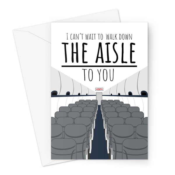 I Can't Wait to Walk Down the Aisle TO You CUSTOM Wedding Anniversary Funny Couples Love Partner Lockdown Travel Distance Plane Airplane Pandemic Greeting Card
