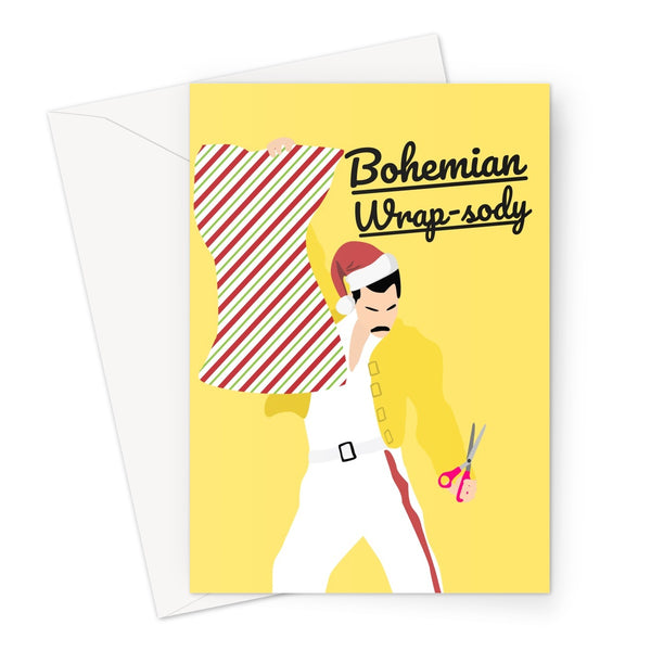 Bohemian Wrap-sody Freddie Mercury - Christmas Xmas Festive Funny Rhapsody Song Classic Retro Love Wrapping paper  Greeting Card
