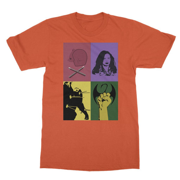 The Defenders Daredevil Matt Murdock Iron Fist Jessica Jones Luke Cage Softstyle Ringspun T-Shirt
