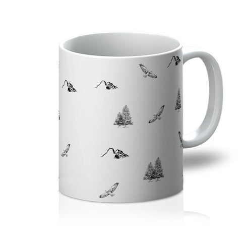 Travel Collection Homeware - Outdoor Adventure Mug (Mountains, Birds, Trees)