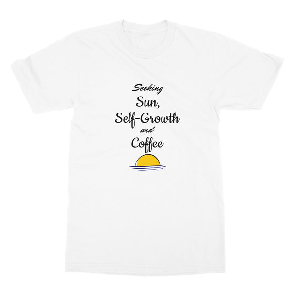 Travel Collection Apparel - 'Seeking Sun Self Growth & Coffee' T-Shirt
