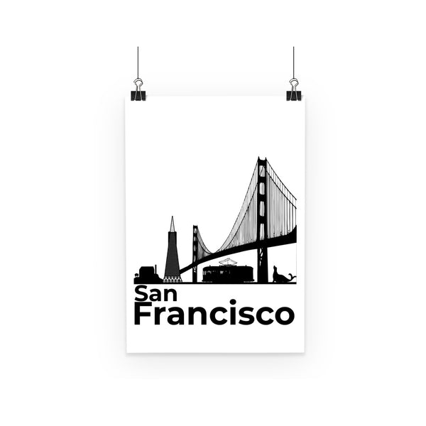Travel Collection Homeware - San Francisco Minimal Poster (Black & White)