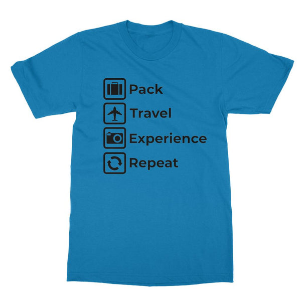 Travel Collection Apparel - 'Pack, Travel, Experience, Repeat' T-Shirt