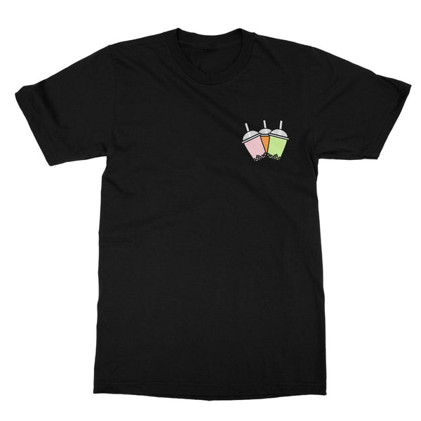 Cute Bubble Tea T-Shirt (Left Breast Print on Black T-Shirt)