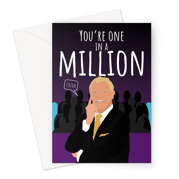 You're One in a Million (cough) Millionare Funny Quiz Birthday Anniversary Mother's Day British  Greeting Card