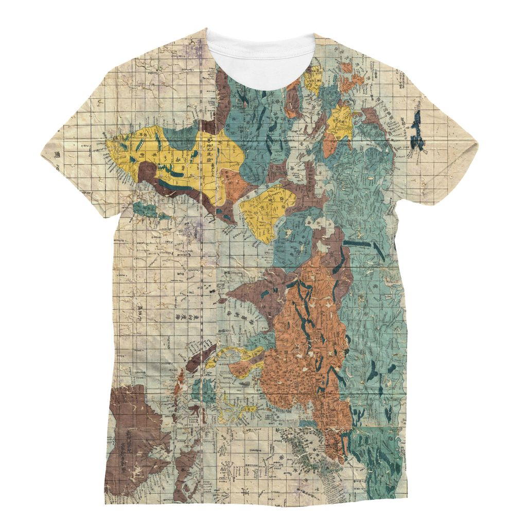 Japan world map print t-shirt. Japan-style fashion. Japanese inspired clothing. Gifts for travel lovers.