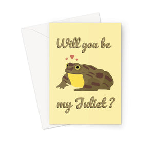 Will You Be My Juliet World's Loneliest Frog Bolivia Romeo Sehuencas Water Cloud Forest Valentine's Day Love Anniversary  Greeting Card