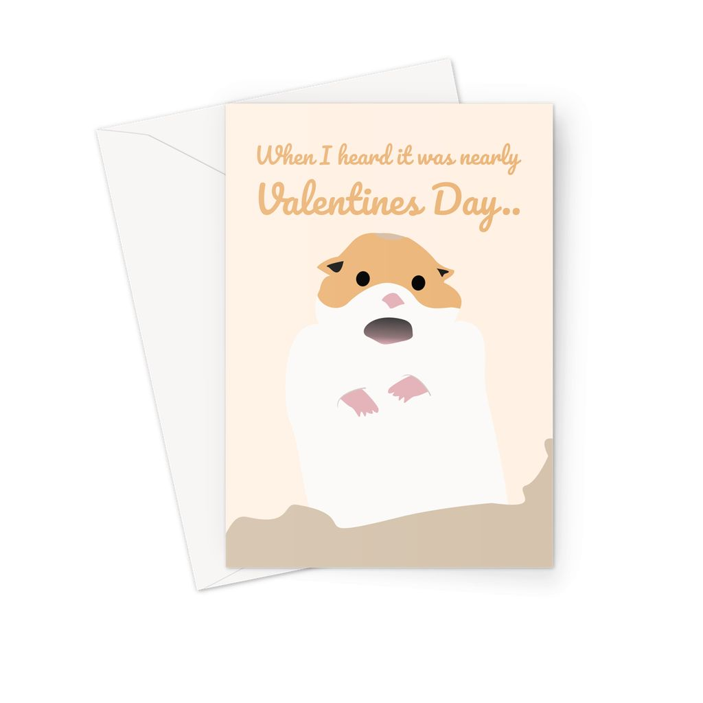 Scared Screaming Hamster Meme Valentines Day Funny Greeting Card