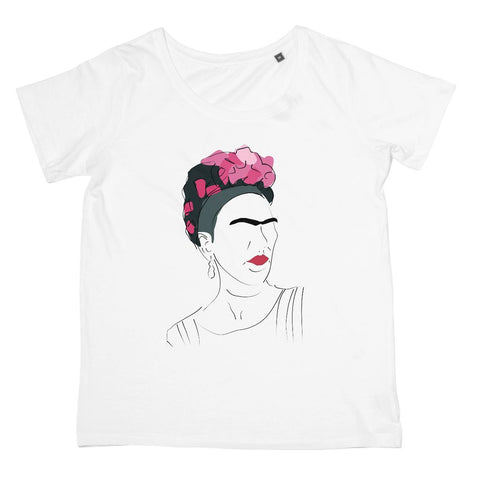 Frida Kahlo Hand Drawn T-Shirt (Cultural Icon Collection, Women's Fit, Big Print)