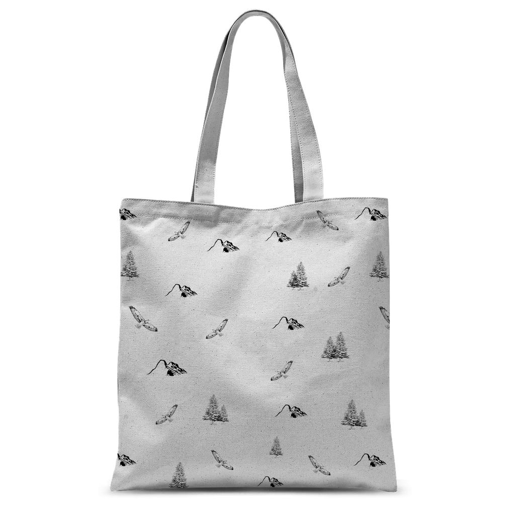 Travel Collection Apparel - All-Over Print Outdoor Adventure Tote Bag (Mountains, Birds, Trees)