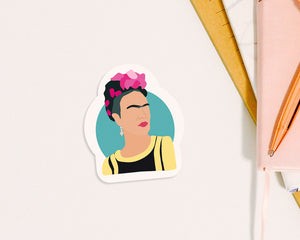 "Frida Kahlo Waterproof Sticker Vinyl Kisscut 3x4"" Gift Birthday Video Game Fan Funny Feminist Skateboard Laptop Notebook Icon Minimalist"