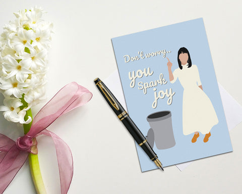 Marie Kondo Valentine's Card - 'Don't Worry...You Spark Joy' (Blue)