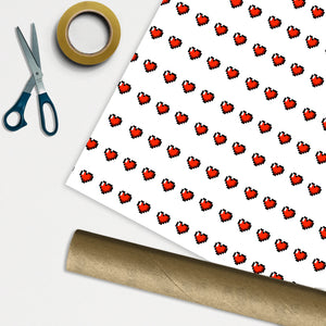 Pixel Love Hearts Wrapping Paper - 1M ROLL - Anniversary Birthday Gift Wrap Christmas Xmas Gamer Fan Lives Switch Play Retro Classic Nerd