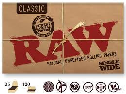 Raw Classic Natural Unrefined Hemp Rolling Papers Single Wide Double Window PK100