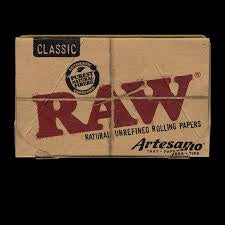 Raw Classic Hemp Artesano Magnt Pack w/ Tips and Tray 1 1/4 50 PK